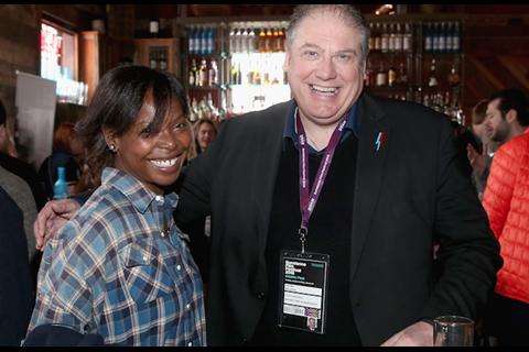 AFI FEST director Jacqueline Lyanga and British Film Commission CEO Adrian Wootton at We Are UK Film reception, Sundance 2016